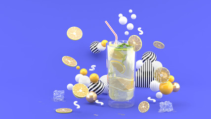 Lime juice surrounded by lemon and colorful balls on red background.-3d rendering.