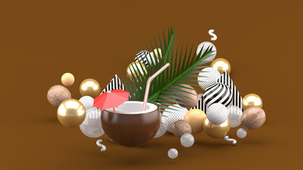 Coconut water and coconut are among the colorful balls on the brown background.-3d rendering.