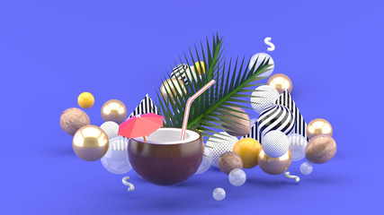 Coconut water and coconut are among the colorful balls on the purple background.-3d rendering.