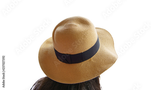 f67ba9a3 Clipping path Rear, back view long hair woman wearing straw hat yellow with  black ribbon isolated on white background.