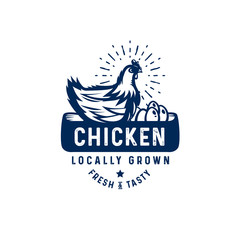 quality rooster logo, badge, emblem. Farm stamp of quality product