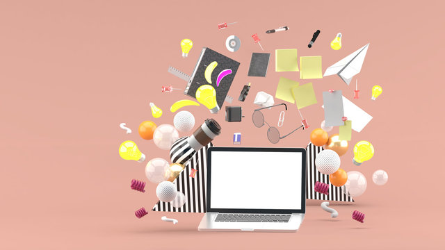 Laptop floating amidst coffee, glasses ,stationery and light bulb on pink background.-3d render.