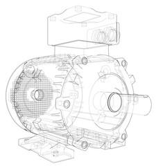 Electric motor outline. 3d illustration