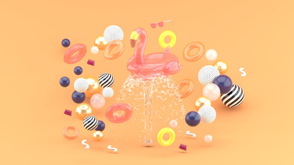 Flamingo rubber ring floating on a fountain surrounded by colorful rubber rings on an orange background.-3d render..