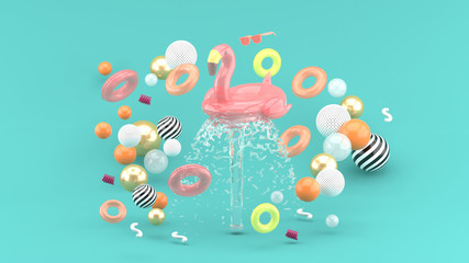 Flamingo rubber ring floating on a fountain surrounded by colorful rubber rings on a blue background.-3d render..