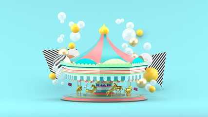 Carousel among colorful balls on blue background.-3d render.