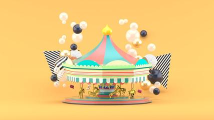 Carousel among colorful balls on orange background.-3d render.