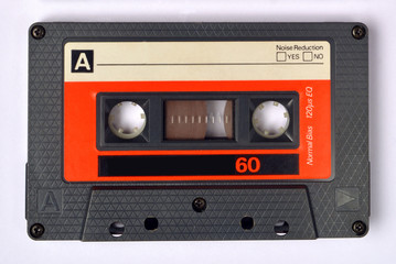 Close up of audiocassette tapes.