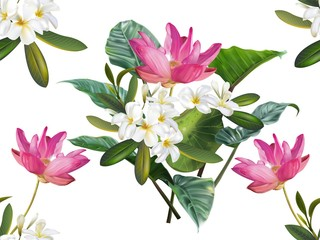 Lotus and plumeria flower seamless pattern