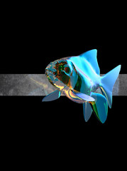 Transparent fish with holographic effect illustration. Bubble effect fish on black background. 3D illustration