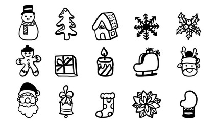 Set of christmas icon vector on white background.Black and white line by hand drawing.