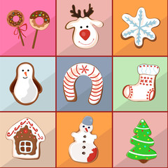 Seamless pattern of christmas gingerbread