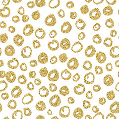Vector seamless gold circle pattern. Hand-drawn design for invitations, wrapping paper, textile