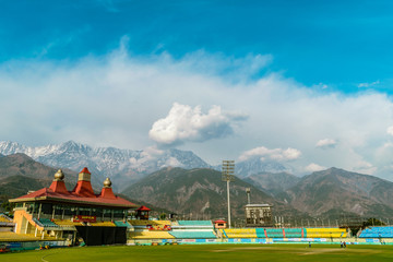 World's highest altitude international cricket stadium, HpCA Cricket Stadium with Dhauladhar Range surrounding it. Kangra Valley