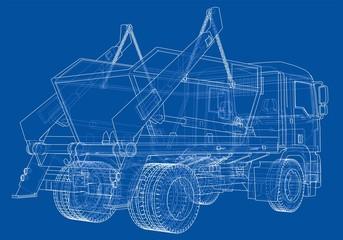 Garbage truck concept. 3d illustration