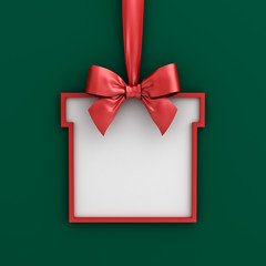 Blank gift box frame banner template hanging with shiny red ribbon and bow isolated on green background with shadow for christmas decoration 3D rendering