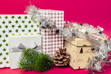 Christmas decoration gift box with pink background