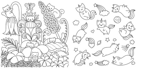 Hand drawn happy cats in floral forest in spring season and cats with unicorn horn flyingi in space, for design element and coloring book page. Vector illustration