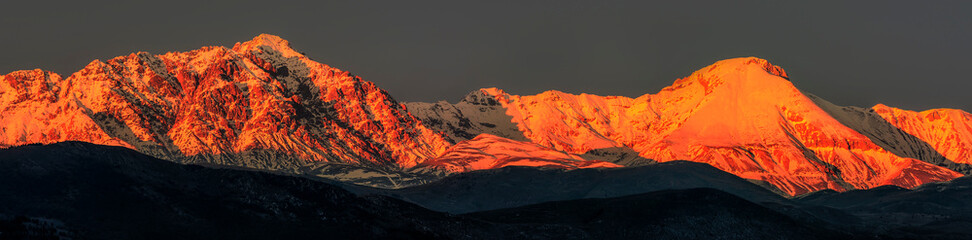 Panorama of an Amazing Sunset Over the Camicia and Prena Mountain - Campo Imperatore - Abruzzo, Italy