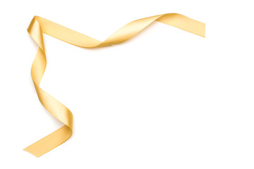 golden satin ribbon isolated on white background