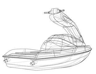 Jet ski sketch. 3d illustration