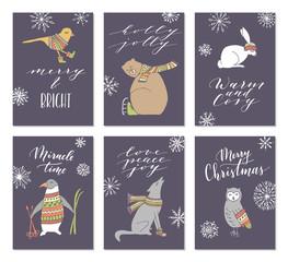 Christmas animals cards.
