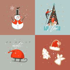 Hand drawn vector abstract Merry Christmas and Happy New Year cartoon illustration greeting cards collection set with snowman,xmas tree,people and Merry Christmas text isolated on colored background