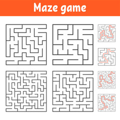 A set of square mazes of various levels of difficulty. Puzzle for children. One entrances, one exit. Labyrinth conundrum. Flat vector illustration isolated on white background. With answer.