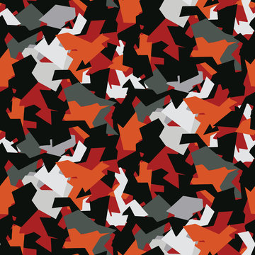 Interlocking Abstract Shapes Seamless Vector Pattern. Random Jigsaw Mosaic Texture for Trendy Hipster Style Decor, Geometric Wallpaper, Masculine Backdrops. All Over Red Black Background Design.