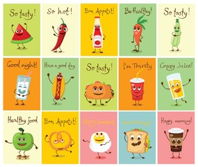 Cartoon cards with funny food characters vector illustrations with hand drawn funny quotes - Vector