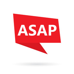 ASAP (As Soon As Possible) acronym on a speach bubble- vector illustration