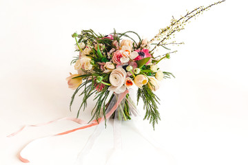 wedding bridal bouquet of exotic flowers on a white background