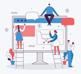 Vector illustration of the office concept business people in the flat style. E-commerce and team work business concept - Vector