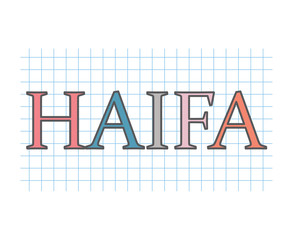 Haifa word on checkered paper texture- vector illustration