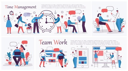 Set of vector concept illustration backgrounds of Start Up, Digital Marketing, Mobile advertising, Big Idea and Team Work in flat style - Vector