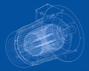 Electric motor sketch. 3d illustration