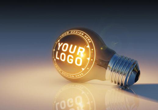 Lightbulb with Logo Mockup