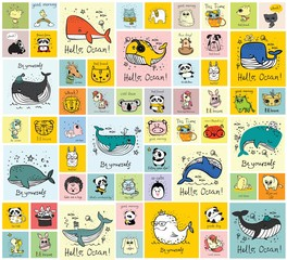Vector set of cards with cute happy animal faces for kid's interiors, banners and posters. - Vector