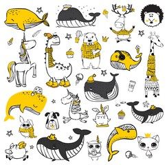 Vector set of cute doodle hipster animals. Perfect for greeting cards design, t-shirt prints and kid's posters. - Vector