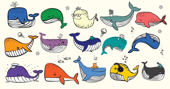 Vector illustration with cute doodle ocean whales in color and other sea inhabitans - Vector