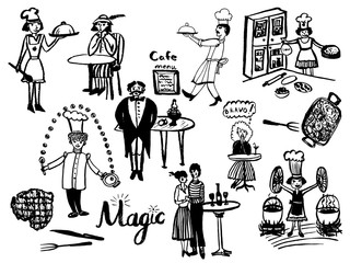 picture of a large set of isolated elements in the style of a vintage comic illustration, chefs, waiters and visitors to a cafe, a sketch of a hand-drawn cartoonish cartoon illustration