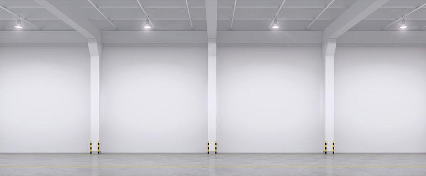 Empty warehouse interior. 3d illustration.