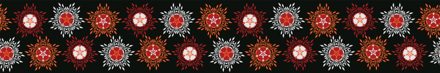 Boho Star Flower Blooms Vector Stripes Border Banner. Folklore Seamless Repeating Ribbon. Hipster Black Background. Striped for Trendy Fashion Trim, Ethnic Textile Edge, Stationery, Floral Packaging
