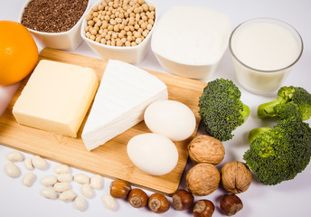 Food products containing a large amount of calcium isolated on white background.