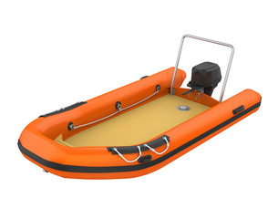 Inflatable Motor Boat Isolated