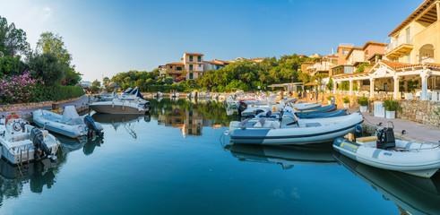 Wall Mural - View of harbor and village Porto Rotondo, Sardinia island, Italy
