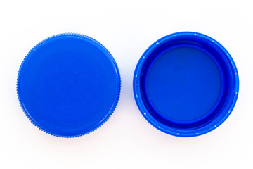 Blue plastic bottle caps