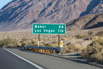 Aluminium Prints Las Vegas Las Vegas 116 miles highway on Interstate 15 near Baker in the Mojave Desert area of Southern California.