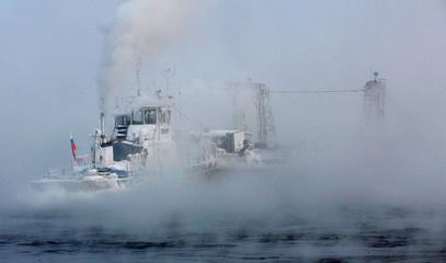 A ferry crosses the Yenisei river near the settlement of Galanino, north of Siberian city of Krasnoyarsk