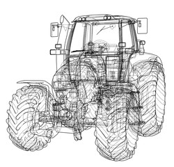 Farm Tractor Concept. 3d illustration